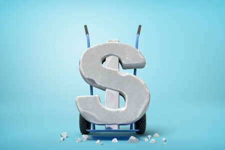 3d rendering of large stone dollar symbol on blue hand truck with big stone crumbs on ground on light-blue background. Stockfoto