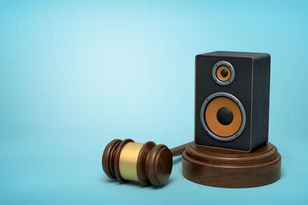 3d rendering of audio loudspeaker on round wooden block and brown wooden gavel on blue background Stok Fotoğraf