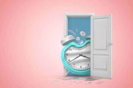 3d rendering of a white open doorway with blue broken damaged alarm clock on light pink background Imagens
