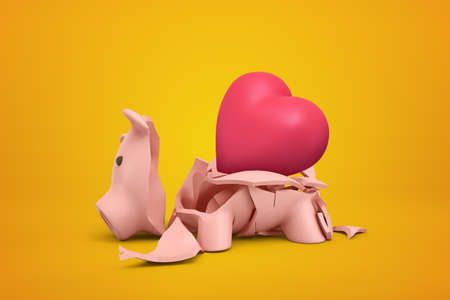 3d rendering of broken piggy bank with pink heart inside on yellow background