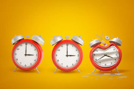 3d rendering of three red alarm clocks standing in row, one of them bent and damaged, on amber gradient background.