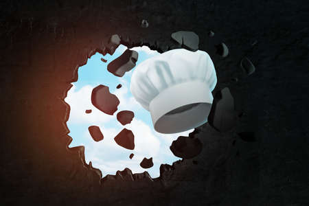 3d rendering of white toque breaking hole in black wall with blue sky seen through hole.