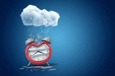 3d rendering of damaged alarm clock standing under raining cloud on blue gradient background with copy space.