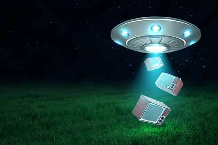 3d rendering of silver metal UFO with retro tv sets on dark night sky and green grass background