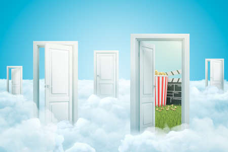 3d rendering of white clouds with open doorways, popcorn bucket and movie clapper on blue sky background Banque d'images - 125215355