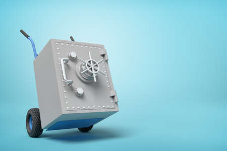 3d rendering of big light-grey metal safe on blue hand truck on light-blue background with copy space.