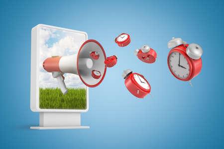 Rendu 3D du panneau d'affichage vertical avec mégaphone et réveils rouges volant sur fond bleu