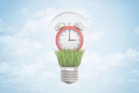 3d rendering of red alarm clock inside of light bulb on blue background
