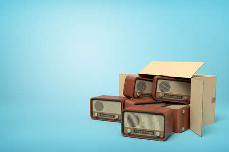 3d rendering of cardboard box lying sidelong full of old-fashioned radios on light-blue background.