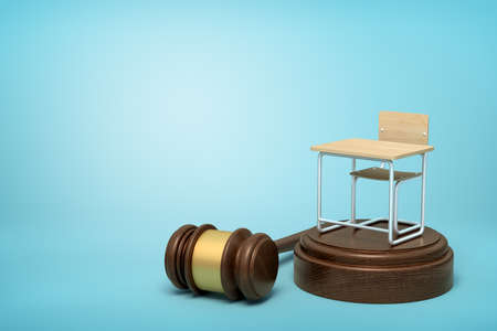 3d rendering of small single seat desk standing on brown sound block with gavel lying beside block on light-blue background with copy space.