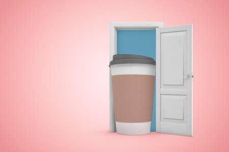 Representación 3D de la puerta abierta sobre fondo rosa degradado y gran taza de papel de café de pie en la puerta.