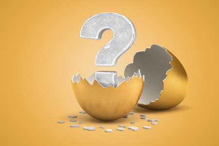 3d rendering of stone question mark hatching out of golden egg on yellow background Imagens