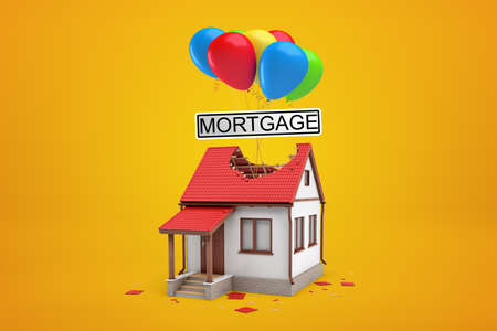 3d rendering of one-storey house with big hole in red roof and bunch of colorful balloons above carrying big sign that reads MORTGAGE on yellow background.