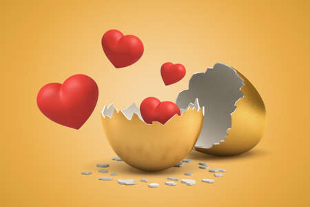 3d rendering of set of red hearts that just hatched out from golden egg and are now flying in air.