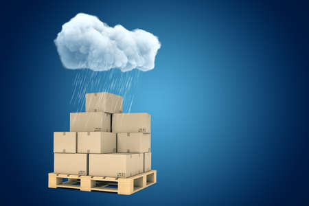 3d rendering of stack of cardboard boxes on wooden pallet standing under raining cloud on blue gradient background with copy space.