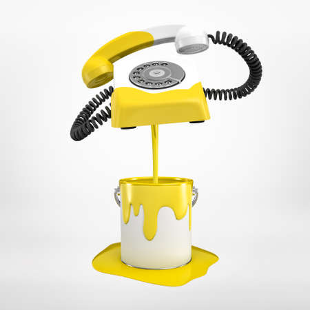 3d rendering of white wireline phone that has been partially dipped into bucket of yellow paint and is now floating in air above it isolated on white background.