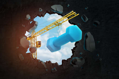 3d rendering of hoisting crane carrying blue dumbbell and breaking black wall leaving hole in it with blue sky seen through.