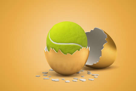 3d rendering of tennis ball hatching out of golden egg on yellow background