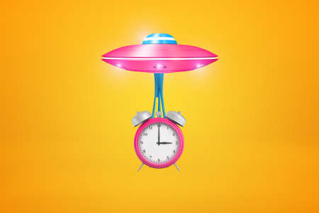 3d rendering of pink UFO with big pink alarm clock suspended on slime below it, flying against amber background.