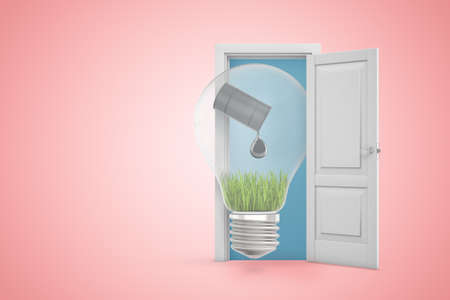 3d rendering of light bulb with black oil barrel pouring oil on green grass in white open doorway on light pink background
