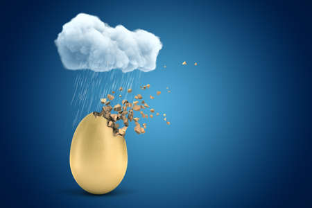 3d rendering of golden egg starting to dissolve in pieces, under raining cloud on blue background with copy space.