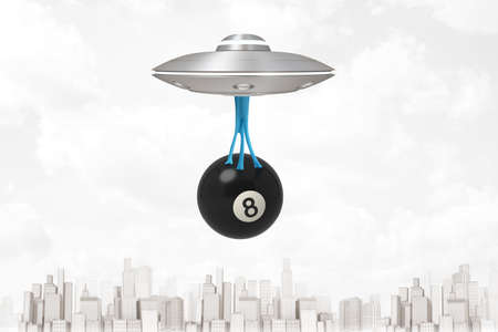 3d rendering of UFO flying above modern city, carrying big black snooker ball with number 8, which is hanging down on blue sticky slime below UFO.