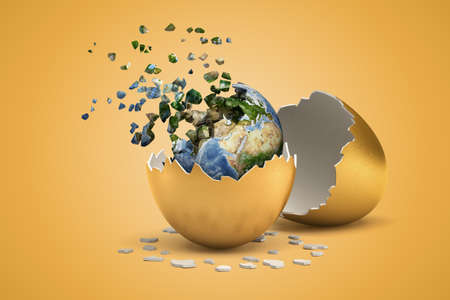 3d rendering of planet Earth which just hatched out from golden egg and is now breaking into small pieces that are flying away. Stok Fotoğraf