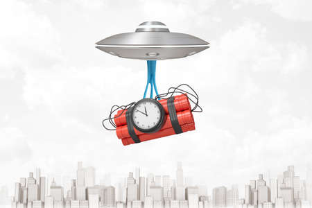 3d rendering of light-grey UFO flying above modern city, with big red dynamite bundle with time bomb hanging down on blue sticky slime below UFO. Deadline. Conspiracy theories. Shocking news.