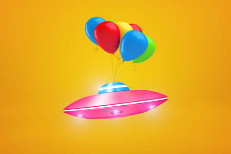 3d rendering of pink metal UFO with colorful balloons on yellow background. Science fiction. Extraterrestrial life. Objects and materials.