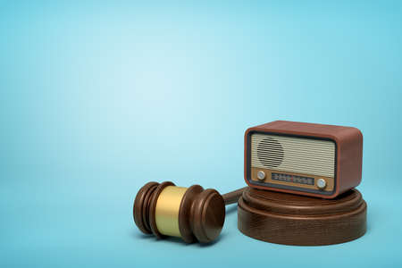 3d rendering of retro radio set on sounding block with brown gavel lying beside on light-blue background with copy space. Public opinion. Cover court trial in press. Cause celebre. Imagens