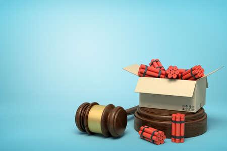 3d rendering of cardboard box full of dynamite standing on sounding block with judge gavel lying beside block on light-blue background.