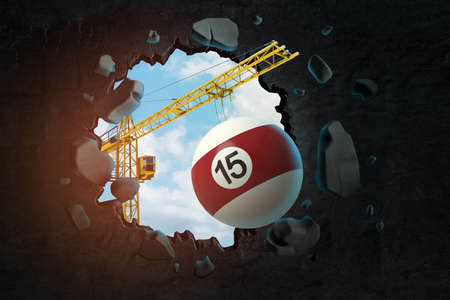 3d rendering of hoisting crane carrying snooker ball and breaking black wall leaving hole in it with blue sky seen through.