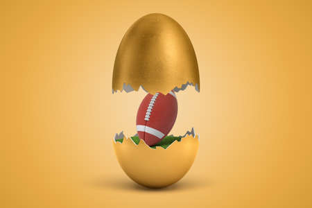 3d rendering of american football ball hatching out of golden egg on yellow background