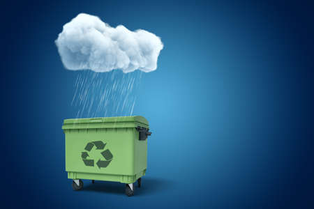 3d rendering of white rainy cloud above green trash bin on blue background
