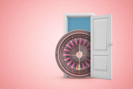3d rendering of big casino wheel emerging from open door on pink gradient copyspace background.
