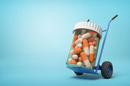 3d rendering of a plastic jar with medical pills on a hand truck on blue background