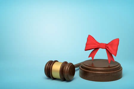 3d rendering of red bow on round wooden block and brown wooden gavel on blue background