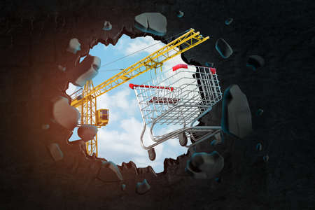 3d rendering of construction crane and shopping cart breaking black wall