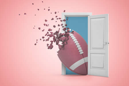 3d rendering of big oval brown ball that has begun to break in little pieces on one end, emerging from door on pink background. Stockfoto