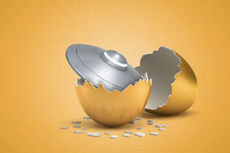 3d rendering of light-grey shiny flying saucer that just hatched out from golden egg.