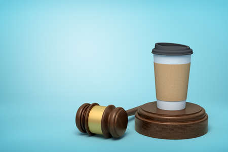 3d rendering of paper coffee cup standing on sounding block with gavel lying beside on light-blue background with copy space.