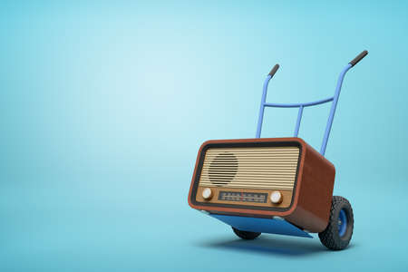 3d rendering of blue hand truck standing in half-turn with brown retro radio set on it on light-blue background with copy space. Banco de Imagens