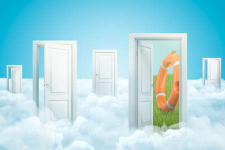 3d rendering of five doors standing on fluffy clouds under blue sky, one door leading to green lawn with big orange lifebuoy on it.