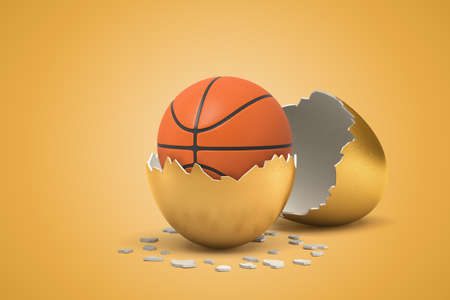 3d closeup rendering of basketball that just hatched out from golden egg. Stock fotó