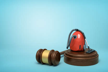 3d rendering of red vacuum cleaner on round wooden block and brown wooden gavel on blue background Stockfoto