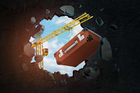 3d rendering of yellow construction crane and retro brown suitcase breaking black wall