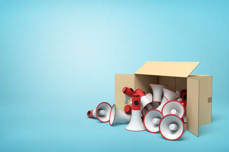 3d rendering of cardboard box lying sidelong full of red and white megaphones on light-blue background with much copy space. Фото со стока