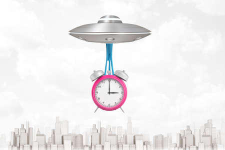 3d rendering of silver metal UFO carrying pink alarm clock on white city skyscrapers background