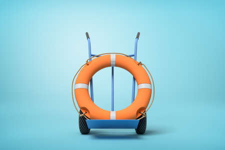 3d rendering of an orange boat lifebuoy on a hand truck on blue background Banco de Imagens