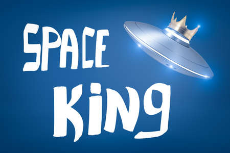 3d rendering of a light-grey UFO wearing gold crown, floating in air, above the title SPACE KING on blue background.